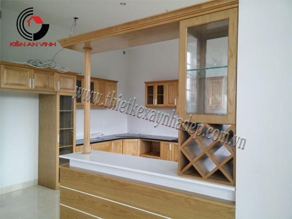 thi công biệt thự giai đoạn hoàn thiện phòng bếp